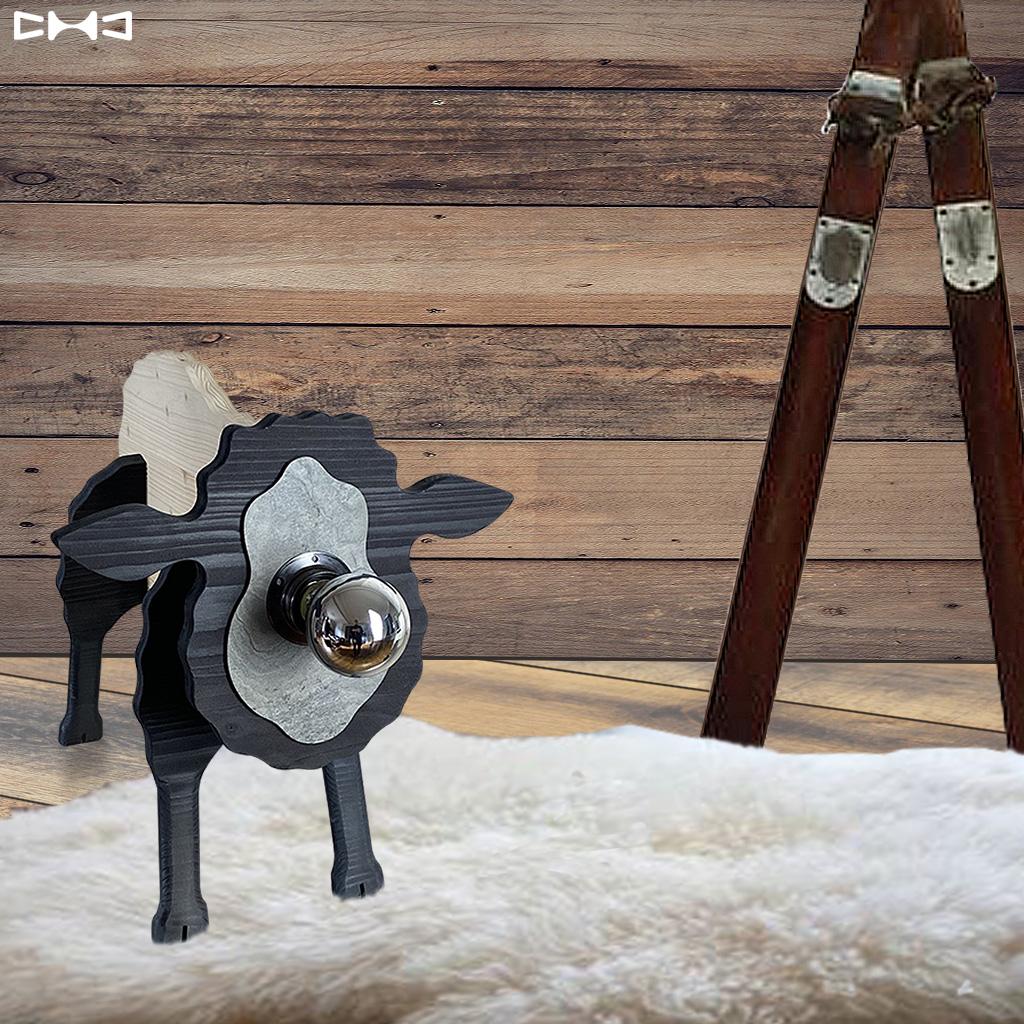 Lampe mouton en bois et en noir et blanc - Chevalier Créations - La minute déco